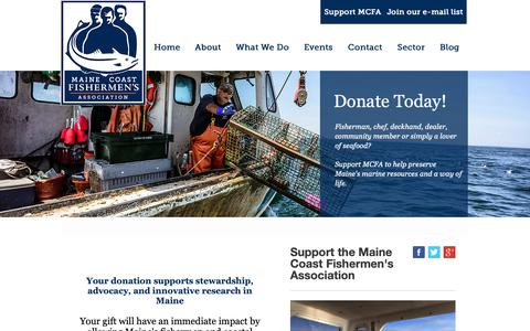 Screenshot of Support Page mainecoastfishermen.org - Support - captured Oct. 2, 2018