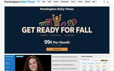 Screenshot of Home Page daily-times.com - Farmington Daily Times: Breaking news, Sports, Business, Entertainment, Opinion - captured Oct. 2, 2018