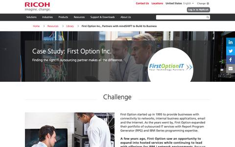 Screenshot of Case Studies Page ricoh-usa.com - First Option Inc., Partners with  mindSHIFT to Build its Business - captured Jan. 3, 2019