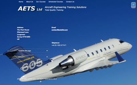 Screenshot of Contact Page aetsltd.com - Contact us | AETS ltdAircraft Engineering Training Solutions - captured Oct. 4, 2014