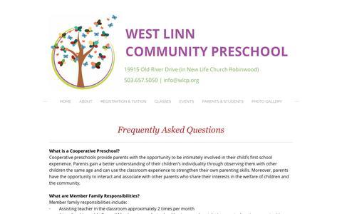 Screenshot of FAQ Page wlcp.org - FAQ -  WEST LINN COMMUNITY PRESCHOOL   Families Working Together Since 1977 - captured Dec. 15, 2016