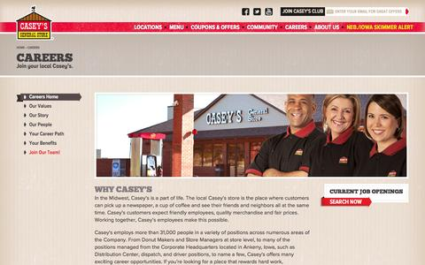 Screenshot of Jobs Page caseys.com - Careers | Casey's General Store - captured Oct. 30, 2015