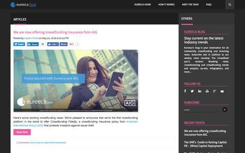 Screenshot of Blog eureeca.com - Eureeca's Blog   Crowdfunding and Investing News - captured July 16, 2016