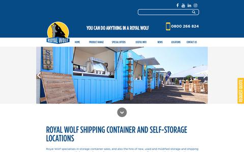 Screenshot of Locations Page royalwolf.co.nz - Shipping Containers for Hire | Royal Wolf New Zealand  - Locations | Royal Wolf NZ - captured Feb. 2, 2018