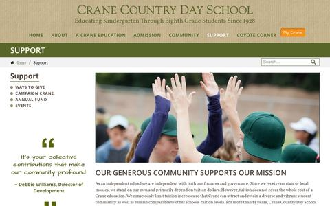Screenshot of Support Page craneschool.org - Support | Crane Country Day School - captured Nov. 2, 2014
