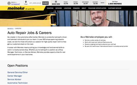 Screenshot of Jobs Page meineke.com - Apply for All Auto Repair Jobs on Meineke.com Career Pages - captured Oct. 5, 2017