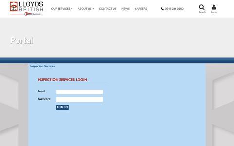 Screenshot of Login Page lloydsbritish.com - Portal - captured Sept. 29, 2018