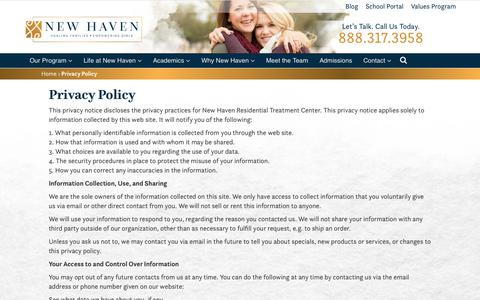 Privacy Policy | New Haven Residential Treatment Center