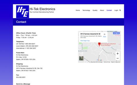 Screenshot of Contact Page hitekquality.com - Contact – Hi-Tek Electronics - captured Sept. 28, 2018