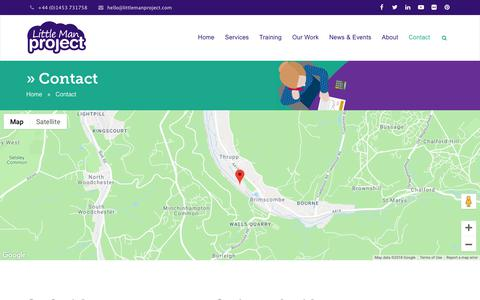 Screenshot of Contact Page littlemanproject.com - Little Man Project   E-learning Experts   Gloucestershire  Contact - captured Sept. 29, 2018
