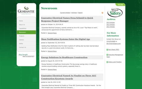 Screenshot of Press Page geco.com - Guarantee Electrical Company > Newsroom - captured Nov. 2, 2014
