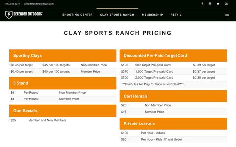 Screenshot of Pricing Page defenderoutdoors.com - Clay Sports Ranch Pricing - Defender Outdoors Shooting Center - captured Nov. 22, 2018