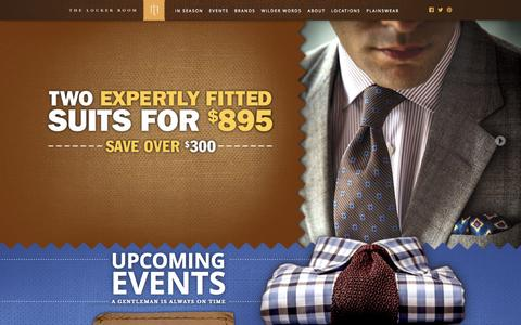 Screenshot of Locations Page tlrclothiers.com - The Locker Room :: Fine Men's Clothing - captured Sept. 30, 2014