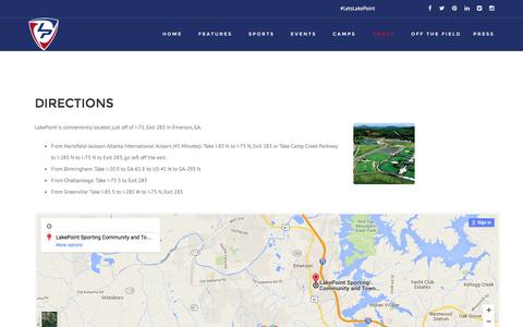 Screenshot of Maps & Directions Page lakepointsports.com - Directions • LakePoint Sports - captured July 10, 2016