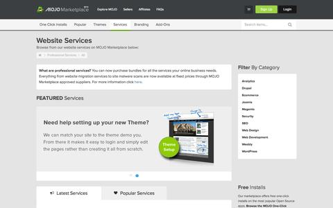 Screenshot of Services Page mojomarketplace.com - Website Services | Professional Services - captured Sept. 19, 2014