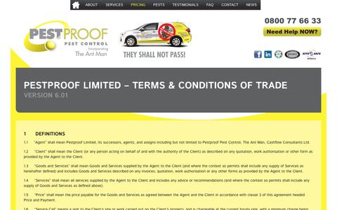 Screenshot of Terms Page pestproof.co.nz - Pestproof Limited – Terms & Conditions of Trade | Pestproof Pest Control - captured Sept. 27, 2018