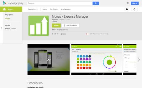 Screenshot of Android App Page google.com - Monas - Expense Manager - Android Apps on Google Play - captured Oct. 23, 2014