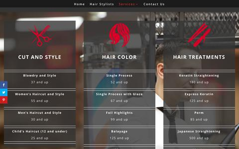 Screenshot of Services Page salonletoile.com - Services - Salon l'Etoile - captured Oct. 2, 2018