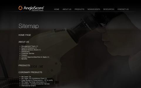Screenshot of Site Map Page angioscore.com captured Sept. 11, 2014