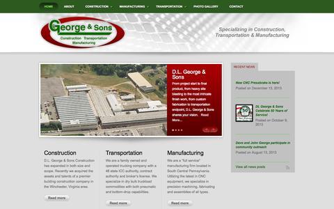 Screenshot of Home Page dl-george.com - DL George & Sons - Construction | Manufacturing | Transportation | PA | VA | MD - captured Oct. 1, 2014