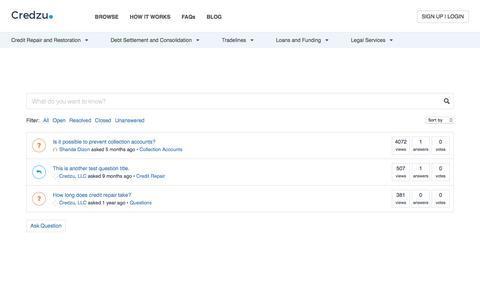 Screenshot of FAQ Page credzu.com - Questions Archive - Credzu - captured May 23, 2017