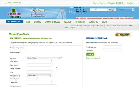 Screenshot of Login Page physiciannaturals.com - Login - captured Oct. 2, 2014