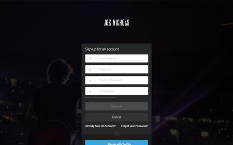 Screenshot of Signup Page joenichols.com - Joe Nichols - captured June 8, 2017