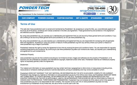 Screenshot of Terms Page powdertech.org - Terms of Use - captured Nov. 2, 2014