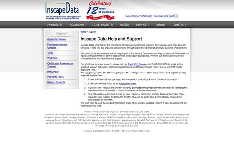 Screenshot of Support Page inscapedata.com - Help and Support   Inscape Data - captured Feb. 11, 2016