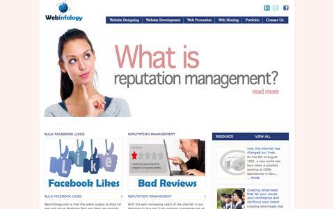 Screenshot of Home Page webinfology.com - Digital marketing company Delhi, India, Indian Online Marketing Agency - captured Sept. 30, 2014