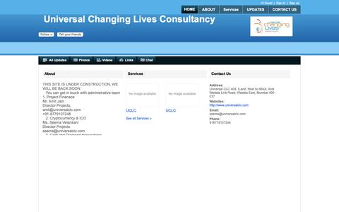 Screenshot of Home Page universalclc.com - Universal Changing Lives Consultancy - captured Oct. 2, 2018