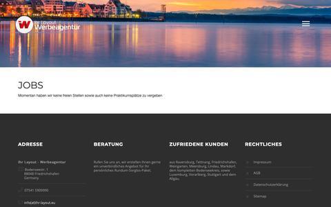 Screenshot of Jobs Page ihr-layout.eu - Jobs : Ihr Layout - Werbeagentur : Bodensee : Friedrichshafen : Vorarlberg - captured Oct. 15, 2018