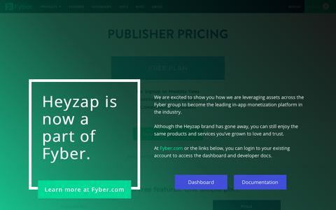 Screenshot of Pricing Page heyzap.com - Pricing  • Fyber - captured Oct. 24, 2018