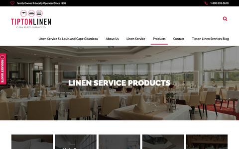 Screenshot of Products Page tiptonlinen.com - Tipton Linen | Clean, Ready, Guaranteed - captured Oct. 20, 2018