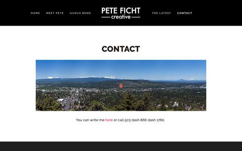 Screenshot of Contact Page peteficht.com - Pete Ficht Creative  — GurUX - Contact page for UX/UI, mobile, web and software consultation & design in Bend, Oregon. - captured Nov. 3, 2018