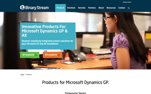 Screenshot of Products Page binarystream.com - Product Solutions for Microsoft Dynamics AX & GP - captured Feb. 7, 2016