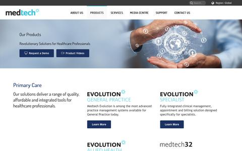 Screenshot of Products Page medtechglobal.com - Revolutionary Solutions for Healthcare Professionals - Medtech Global - captured Sept. 20, 2018