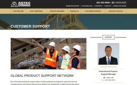 Screenshot of Support Page astecworld.com - Customer Support - ASTEC - captured Oct. 7, 2017