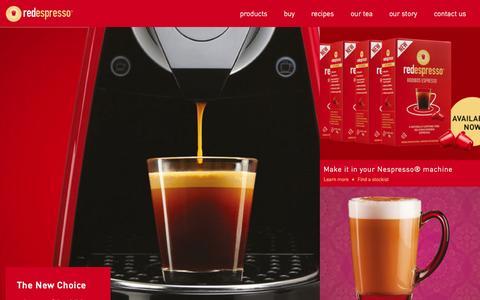 Screenshot of Home Page redespresso.com - red espresso | 100% rooibos. 0% caffeine. - captured Aug. 16, 2015