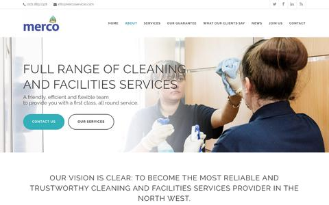 Screenshot of About Page mercoservices.com - About Us - Cleaning and Facilities Services | Merco Services Ltd - captured Oct. 17, 2018