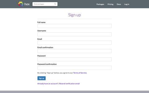 Screenshot of Signup Page hex.pm - Sign up | Hex - captured Nov. 30, 2018