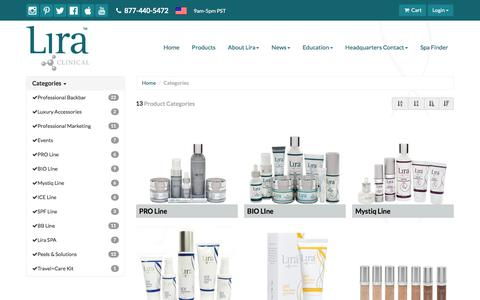 Screenshot of Products Page liraclinical.com - Lira Clinical - captured July 20, 2018