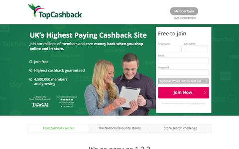 Screenshot of Home Page topcashback.co.uk - TopCashback.co.uk: The UK's #1 Cashback & Vouchers Site - captured Oct. 1, 2015