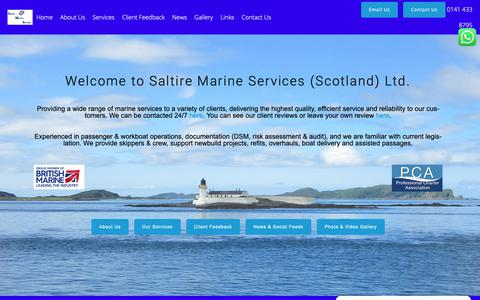 Screenshot of Home Page saltiremarine.co.uk - Saltire Marine Services – Marine Services – Skipper and Crew Supply – Vessel Delivery -Audit – Maintenance – Support – Boatyard Standby – Project Supervision – Domestic Safety Management - captured Oct. 1, 2018