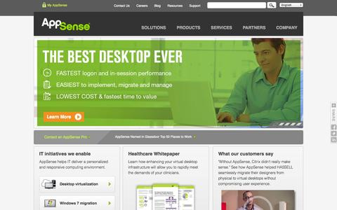 Screenshot of Home Page appsense.com - User Virtualization, Workspace and Desktop Management - AppSense - captured Jan. 15, 2015