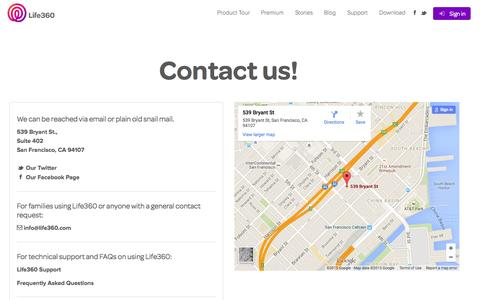 Screenshot of Contact Page life360.com - Contact Us   Life360 - The New Family Circle - captured June 16, 2015