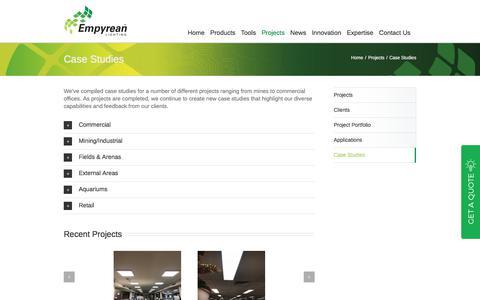 Screenshot of Case Studies Page empyreanlighting.com - Case Studies | Empyrean Lighting - captured July 19, 2018