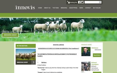 Screenshot of Terms Page innovis.org.uk - Innovis Breeding Sheep :: Terms & Conditions - captured Jan. 8, 2016