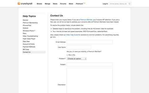 Screenshot of Contact Page crunchyroll.com - Crunchyroll - Help - Contact Us - captured Sept. 13, 2014