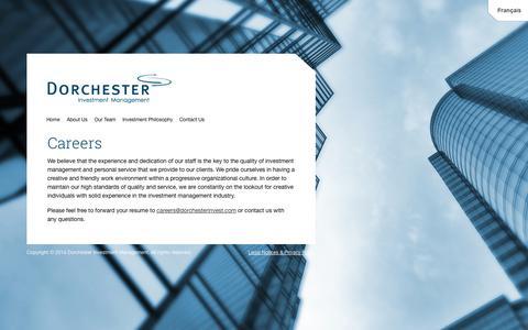 Screenshot of Jobs Page dorchesterinvest.com - Careers | Dorchester - captured Oct. 5, 2014